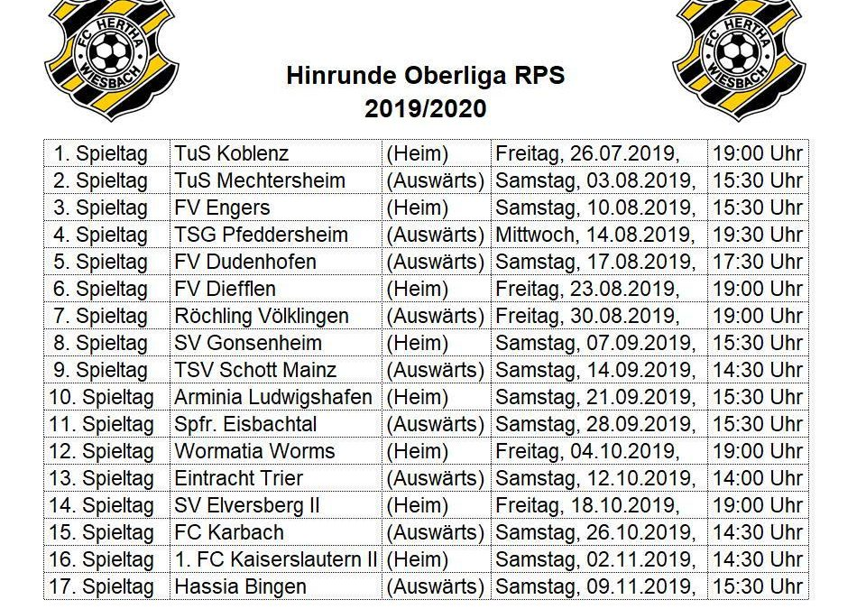 Hinrundenspielplan Oberliga RPS 2019/2020